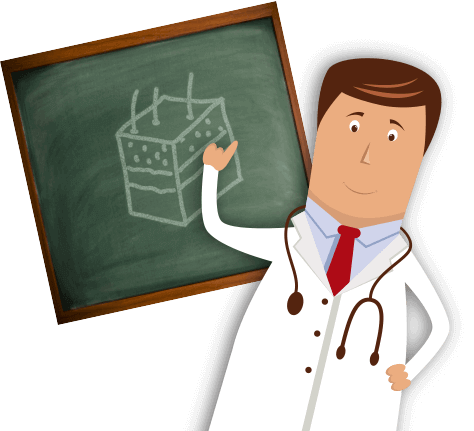 Doctor pointing at a chalkboard with a skin illustration